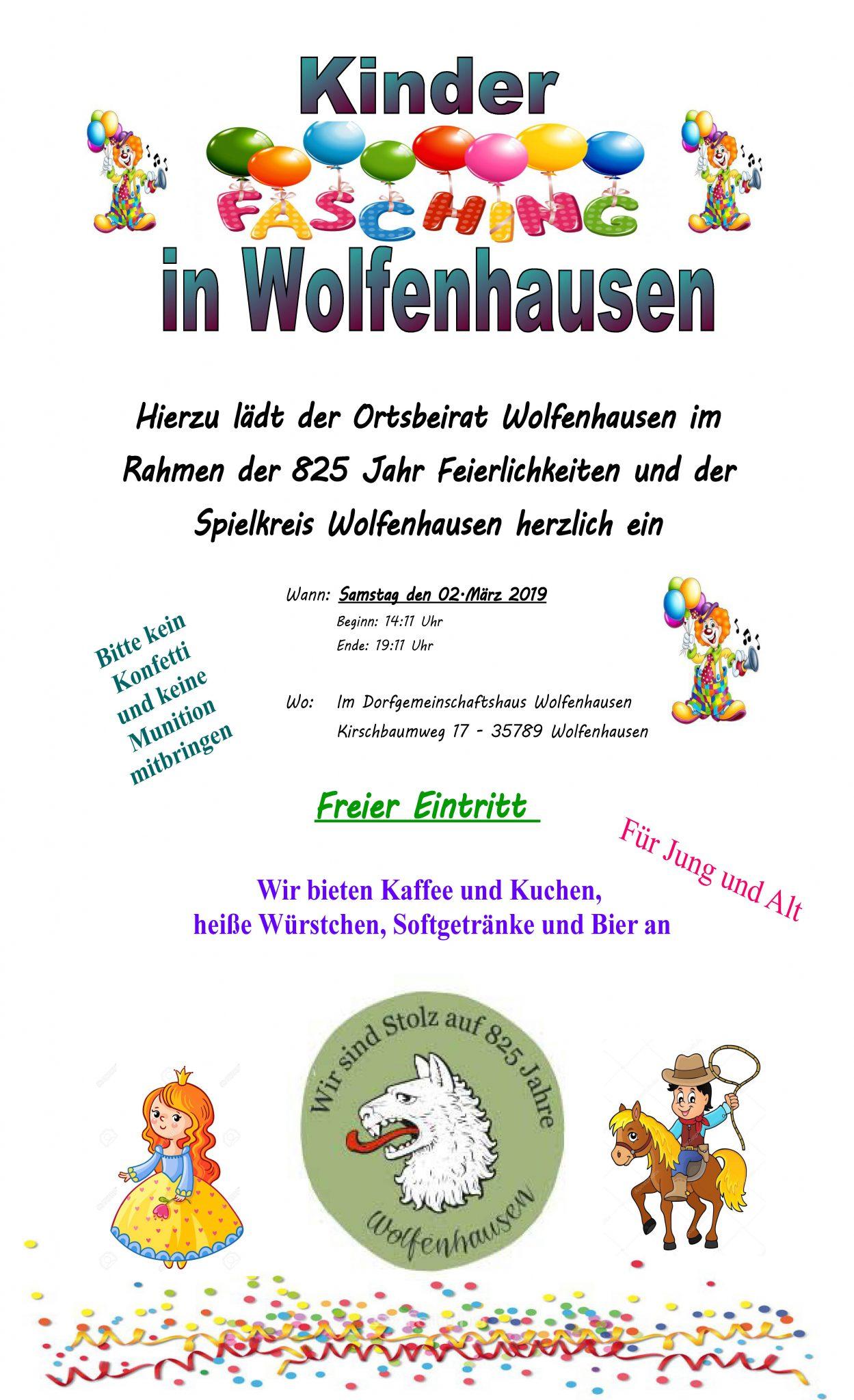 Kinderfasching Wolfenhausen 2019