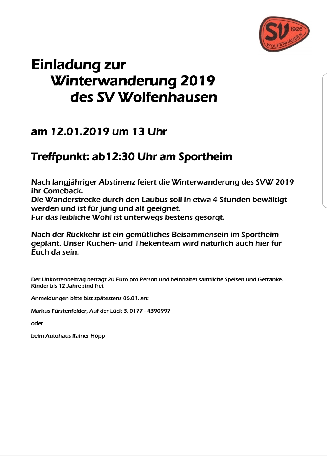 Winterwanderung des SV Wolfenhausen 2019